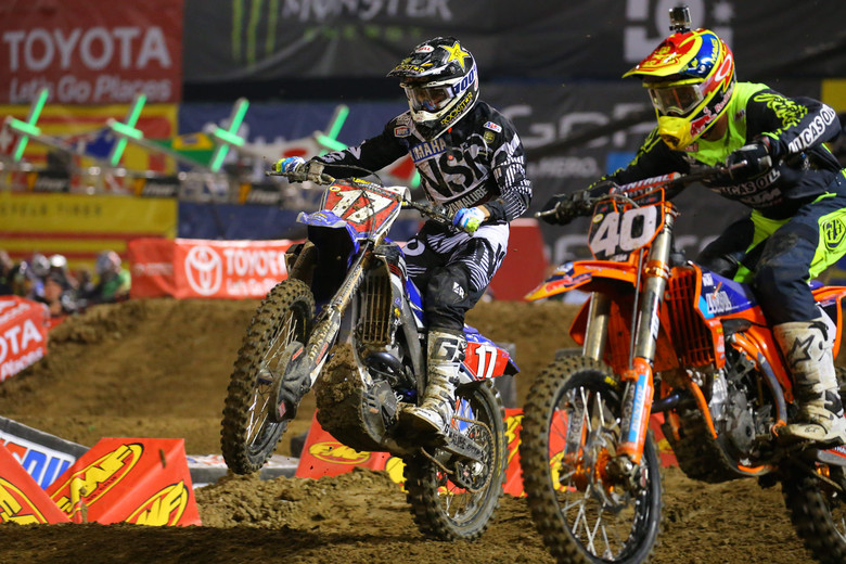Cooper Webb came from behind to nab the first 250 heat race win from Shane McElrath.