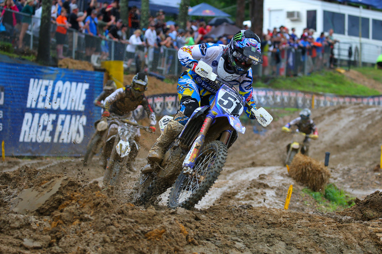 A third in moto one, and a win in the muddy conditions of moto two gave Justin Barcia the overall win. He looked like he was having a blast in moto two, as he stretched out a huge lead. He also moved up a spot, to third in the series.