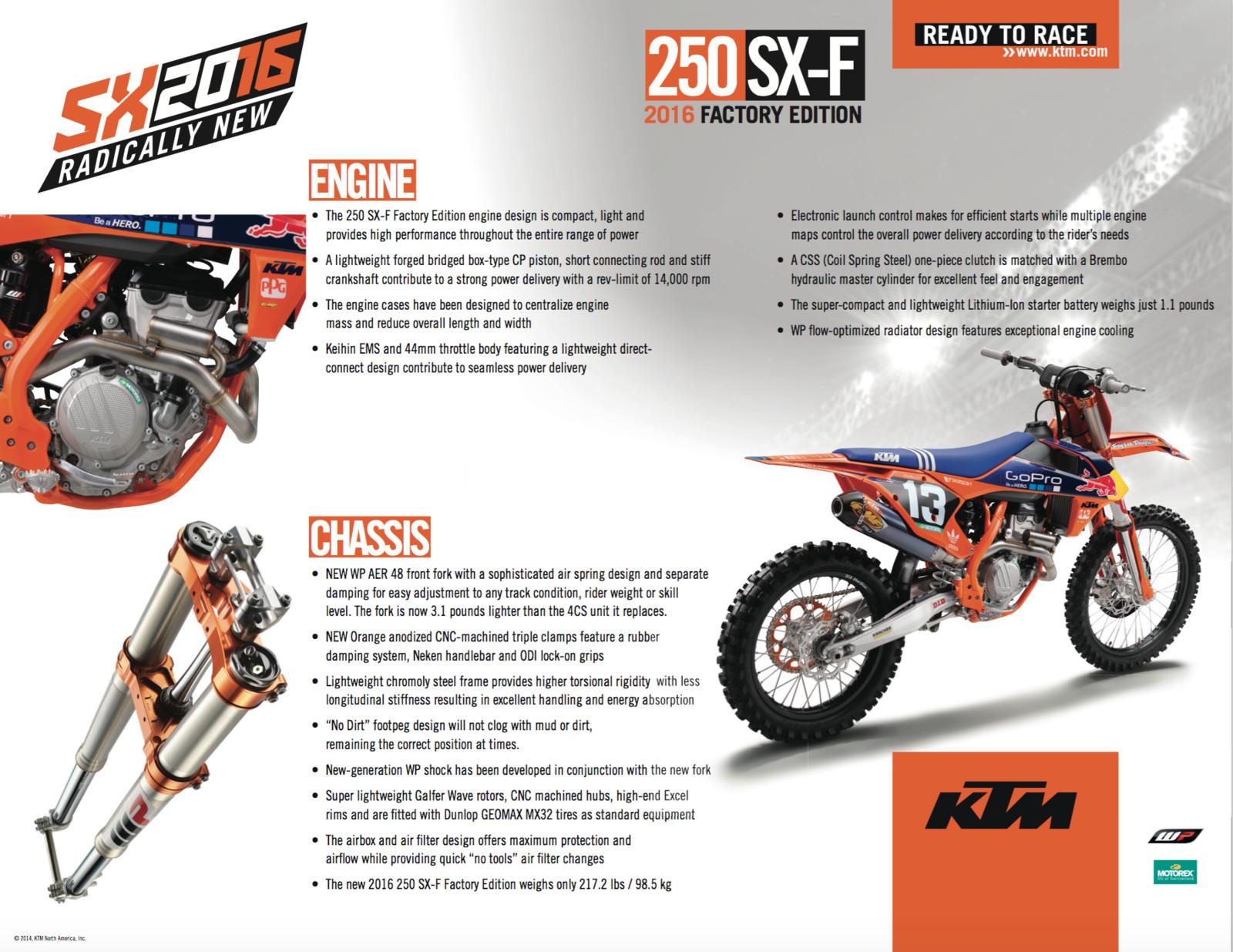 2016 ktm 250 sx-f factory edition - reviews, comparisons, specs