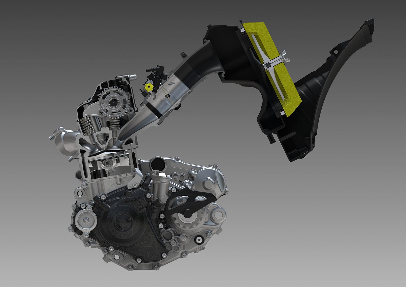 downdraft intake layout increases power by reducing resistance, improving  air-charging efficiency