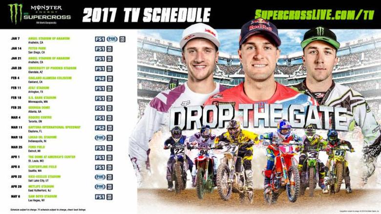 2017 Monster Energy Supercross TV Schedule