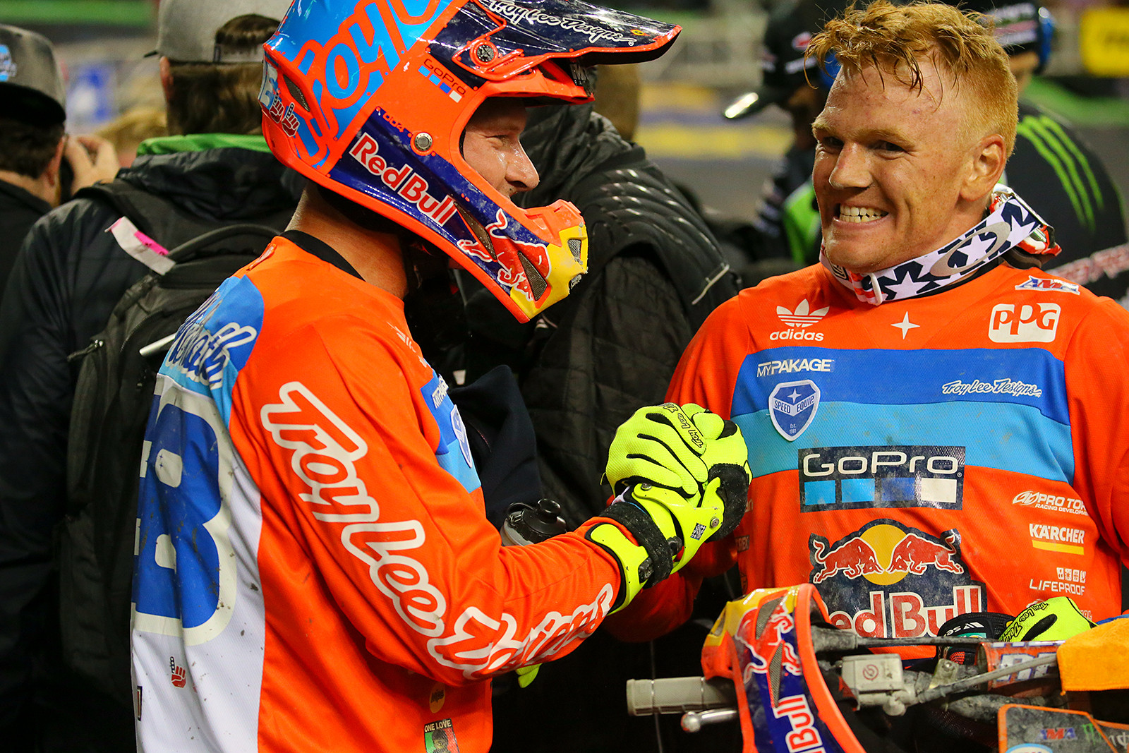 Do you think Mitchell Oldenburg (right) was pumped with his first podium?