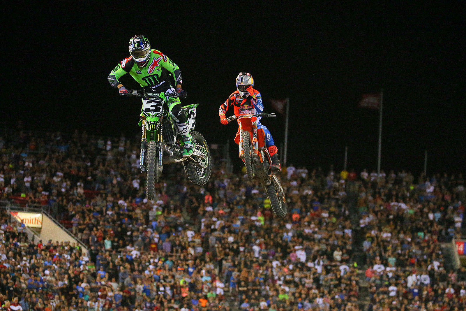 Just like in the 250 main, the crowd was on their feet for the duration of the 450 main. These two kept things close.