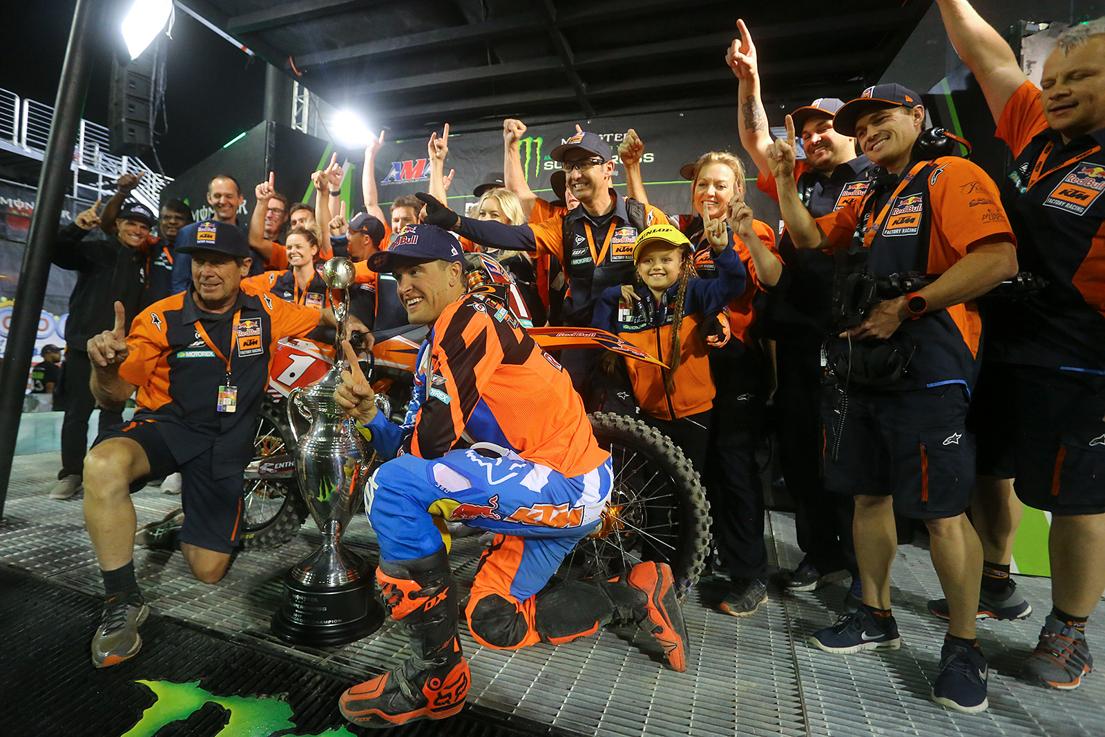 Kudos to the Red Bull KTM crew. That's three 450 titles in a row for Ryan Dungey.While there have been rumors of him retiring (and Ryan shut them down at the pre-race press conference), saying no decision had been made yet), we feel he's been a bit of an underappreciated champ, and people won't realize how much he'll be missed until he's gone.