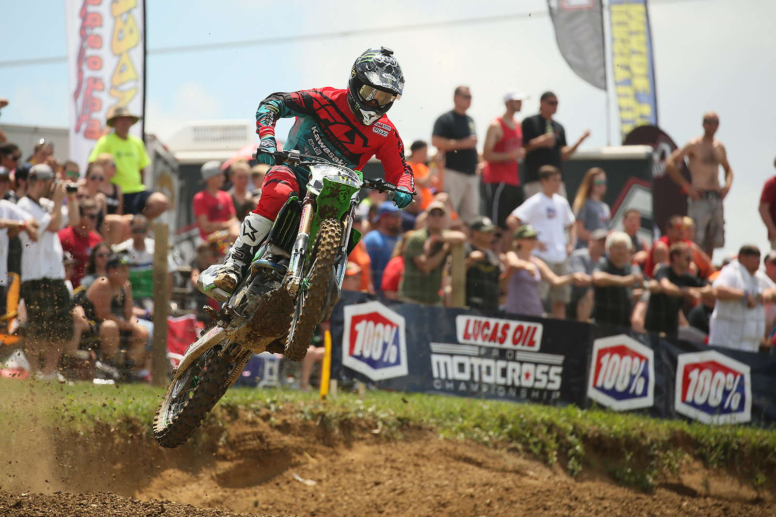 Josh Grant led four laps at the beginning of moto one before eventually landing in third spot.