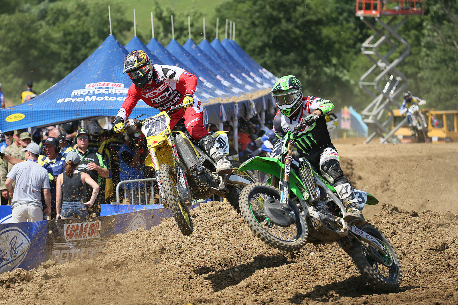Eli Tomac was on a mission to get to the front, and he had a huge lead at the end of moto two.