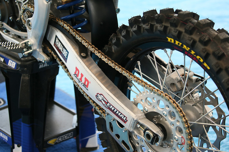 We've previously seen the plate added to the swingarm here in U.S., and Dean's still running that setup, while the U.S. guys have gone back to a more standard configuration.