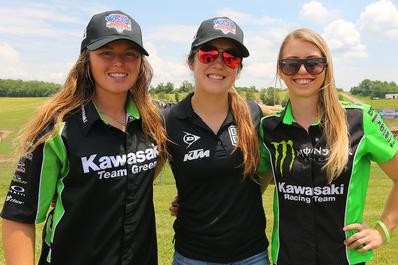 The women of the WMX raced their next-to-last round here. (The last round is at Loretta's.) From left to right, it's Kylie Fasnacht, Eve Brodeur, and Shelby Rolen.
