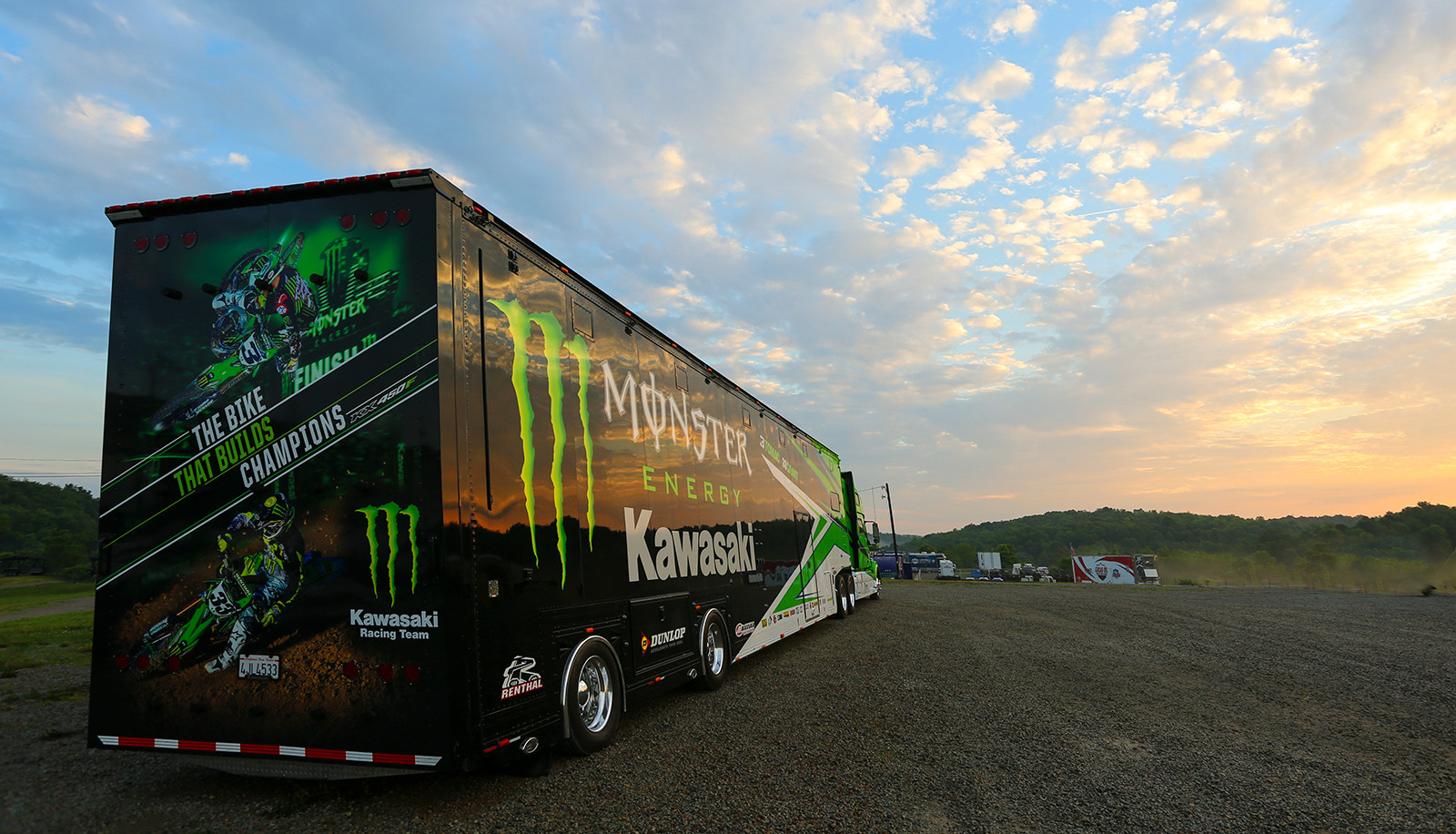 We caught this gorgeous sunrise on Thursday morning before press day, when the Monster Energy Kawasaki rig was looking pretty glorious.
