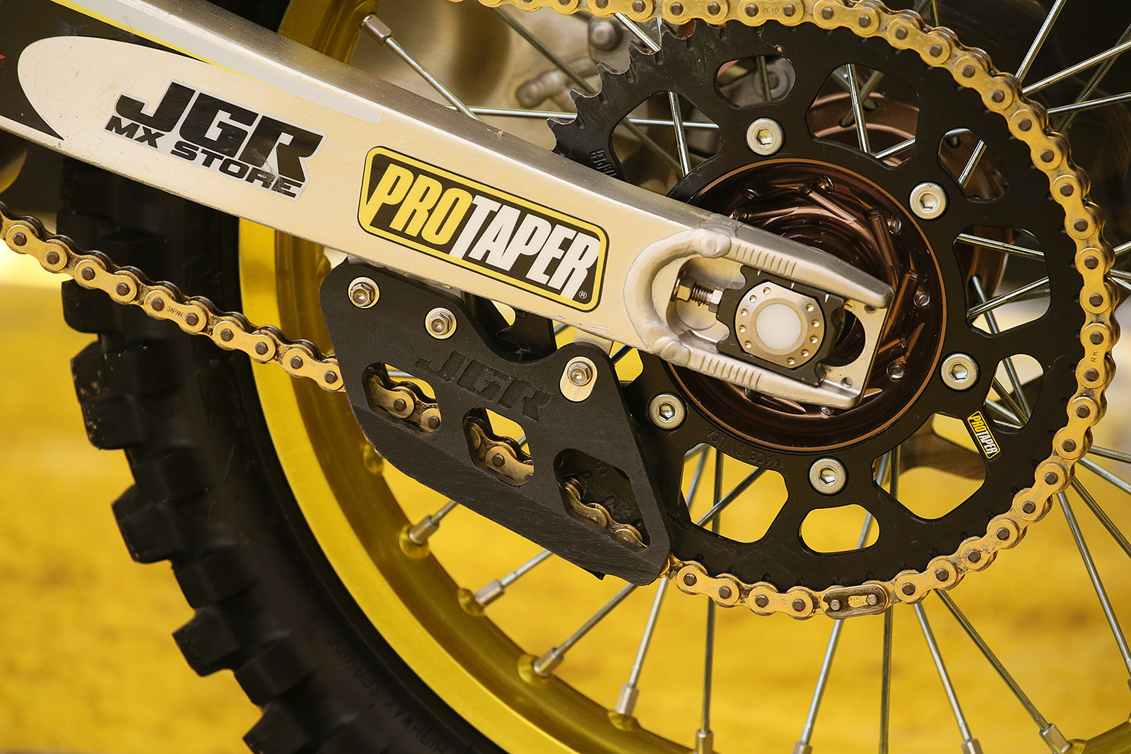 JGR is still doing hard parts for all brands, and had a new chain guide on Justin Barcia's Suzuki this weekend. Unfortunately, Justin had a crash in practice that kept him out of the motos.