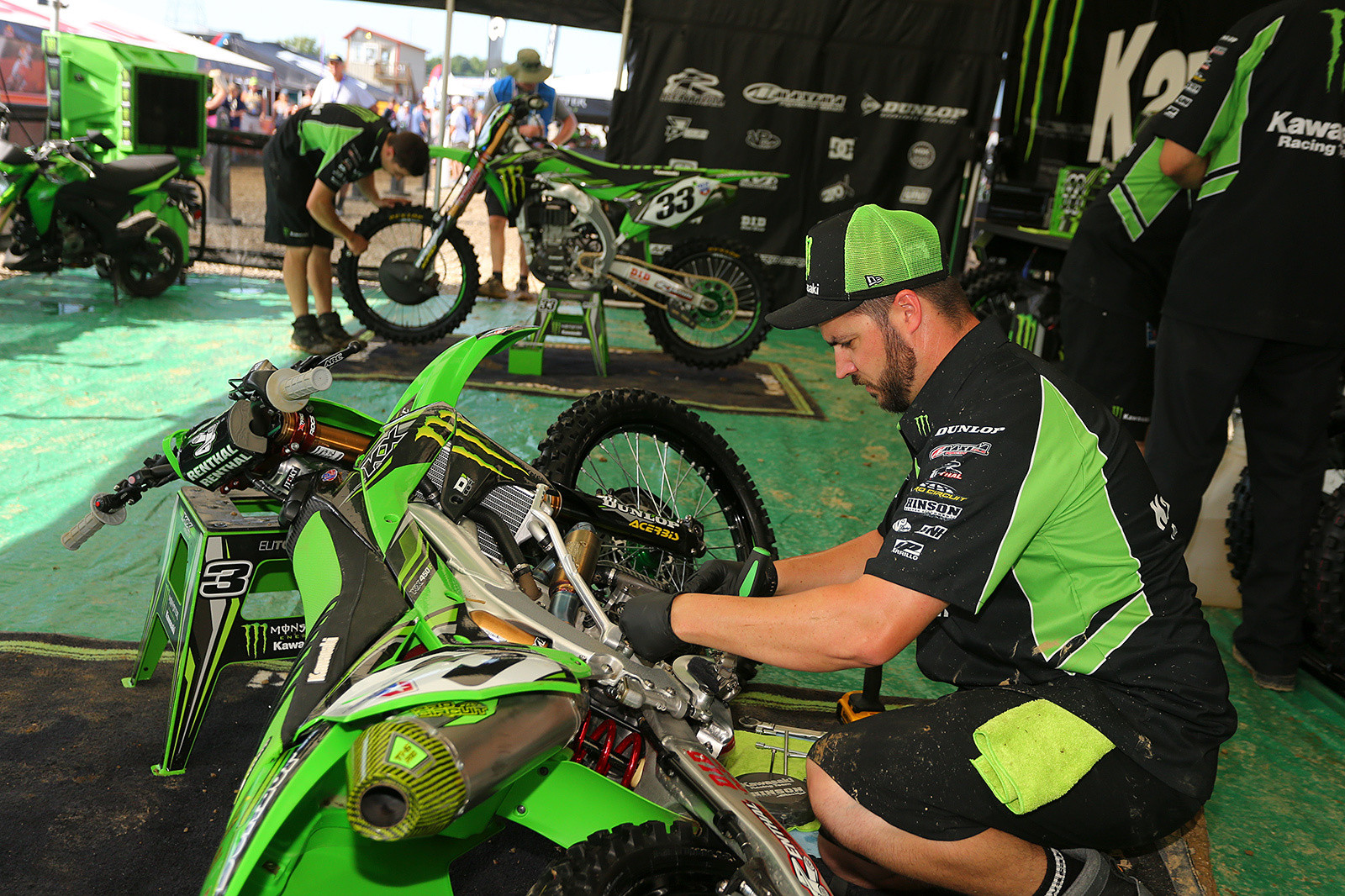 How does Monster Energy Kawasaki handle clutch plate management? They break in a set of plates in the first practice, which are then used for the second moto. That way they're less grabby on the starts. Second practice clutch plates are used for the first moto.