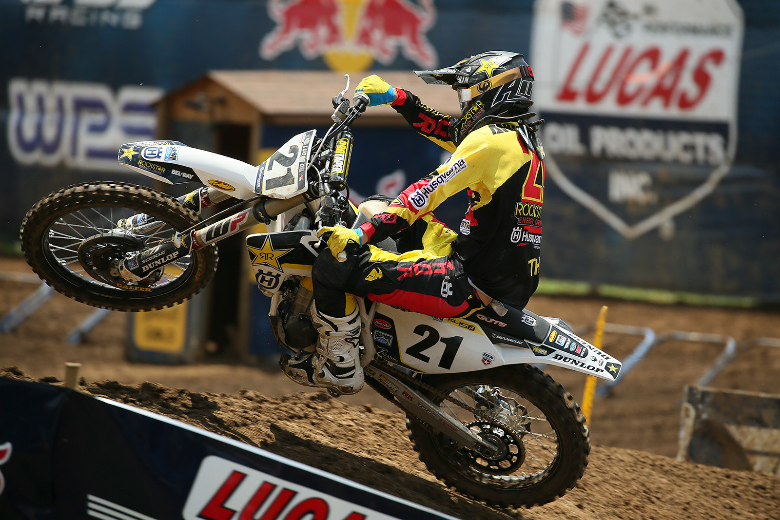 Jason Anderson quickly got by Justin Barcia after the start of the first moto, and sprinted to a win.