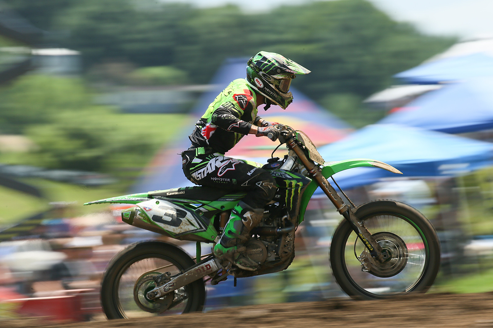 Eli Tomac started out in eighth spot, and worked his way to second. Afterwards, he said that he thought he was in the lead. Unfortunately, that spot belonged to Jason Anderson, who had checked out.