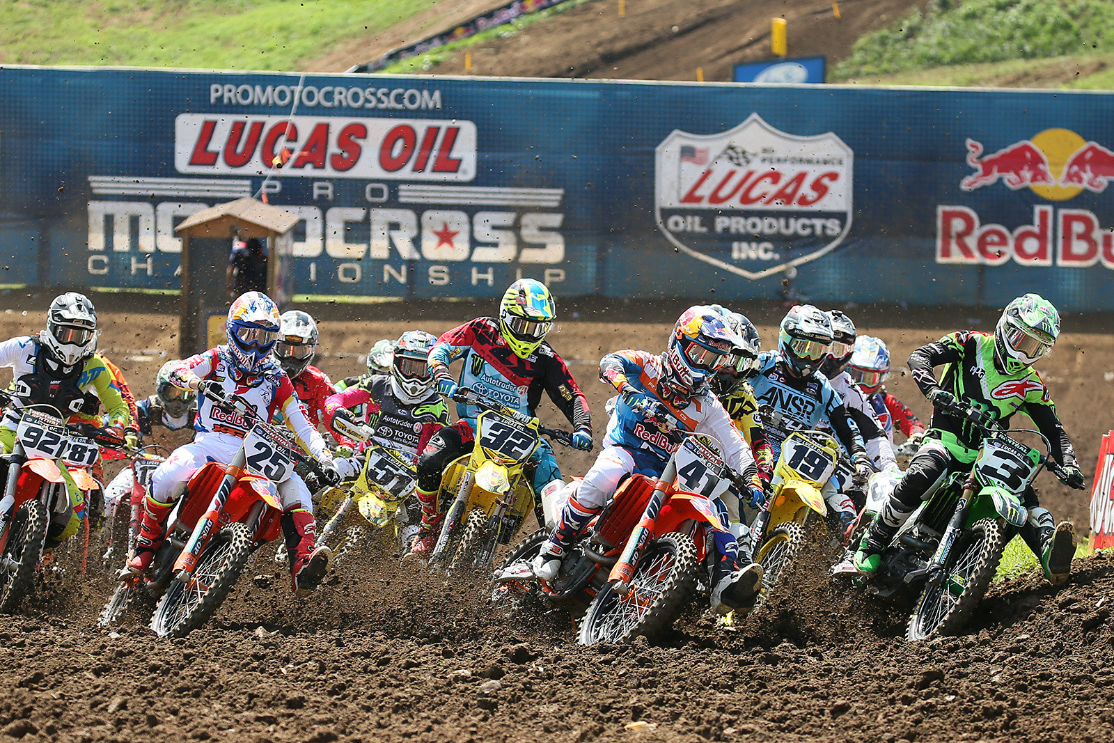 Trey Canard got the jump on the 450 pack in moto two, but Eli Tomac quickly took over the lead.