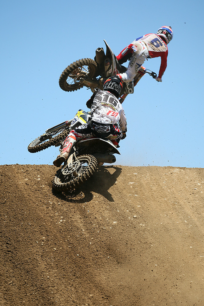 Zach Osborne put the pressure on Jeremy Martin at the end of moto one, but settled for second.
