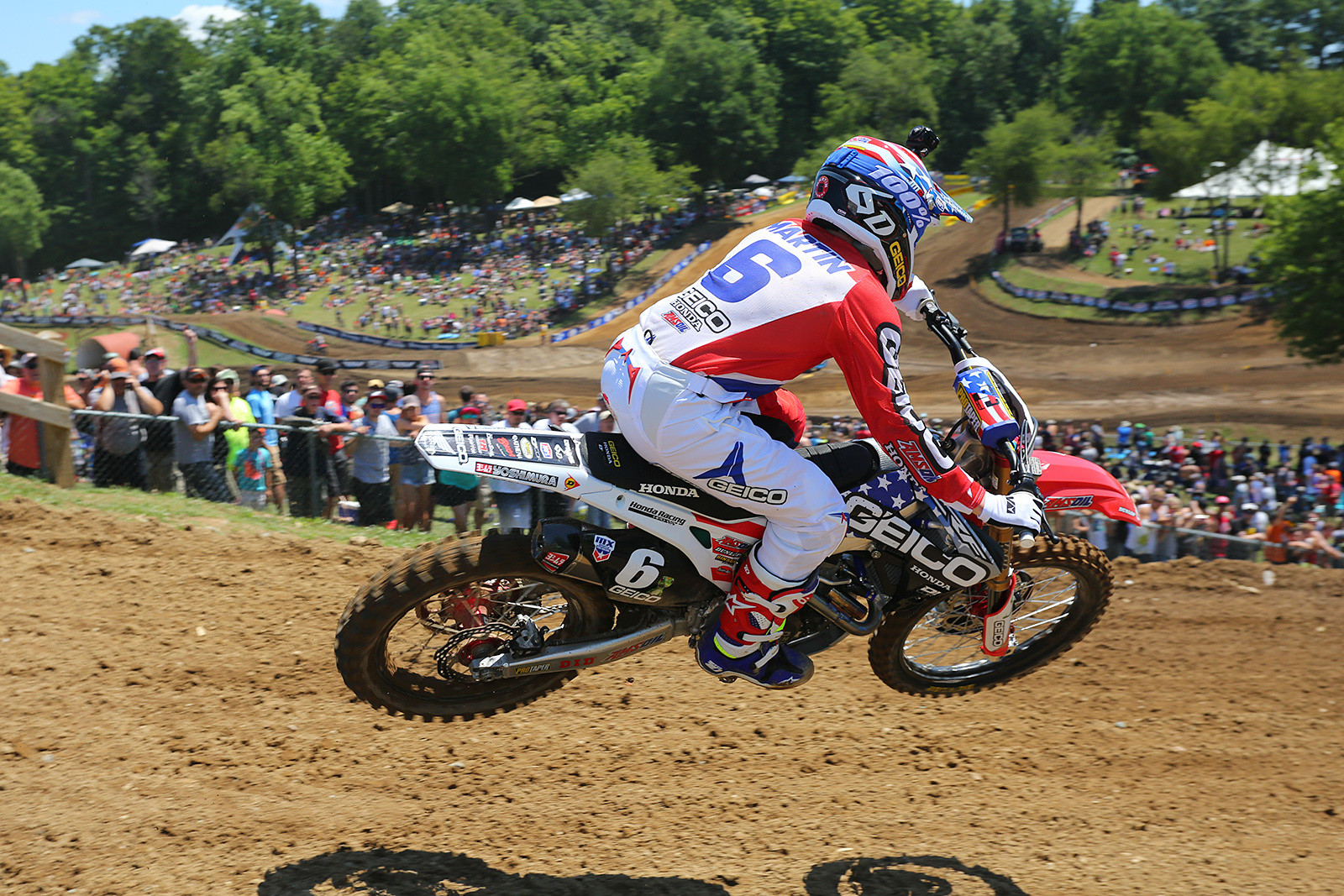 Jeremy Martin grabbed the holeshot in moto one of the 250s, and you could tell he was on a mission to maximize points here.