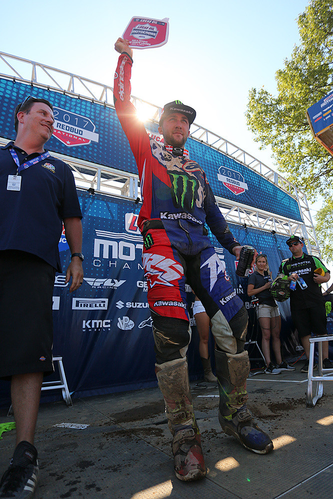 A 1-1 day, combined with Blake Baggett's troubles in the second moto was enough to put the red leader's plate back on Eli Tomac's Monster Energy Kawasaki for next weekend at Southwick.