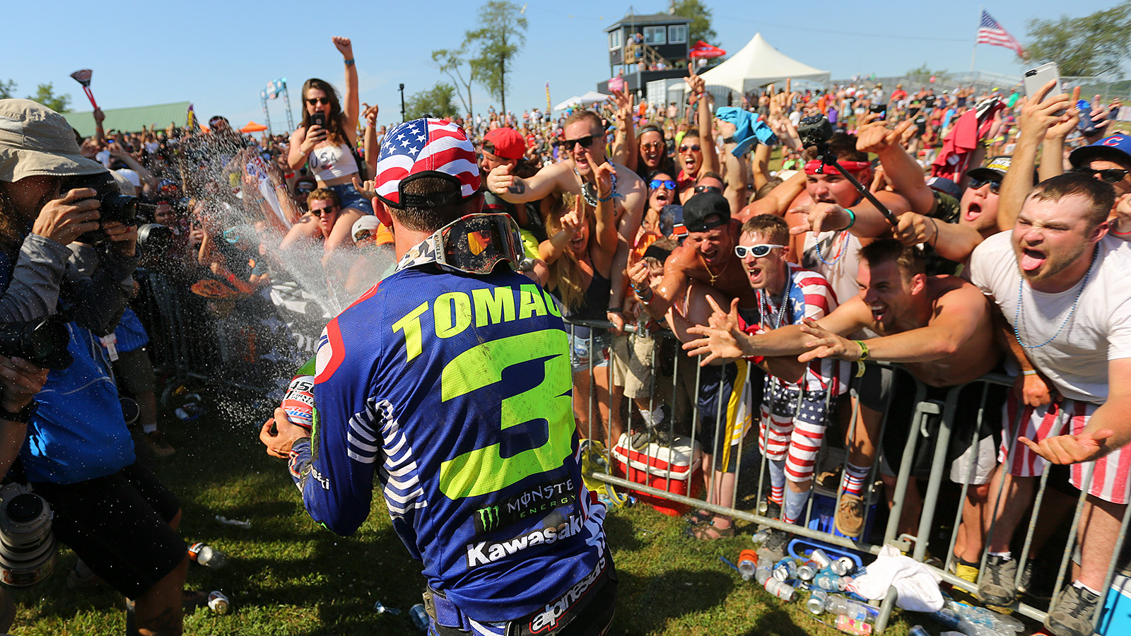 The fans at Southwick are a special breed, but the gang who line the fences at the podium are on another level. They are so into it, and so vocal, it makes for a unique experience for the riders. They do their part to return the love...or at least some champagne.