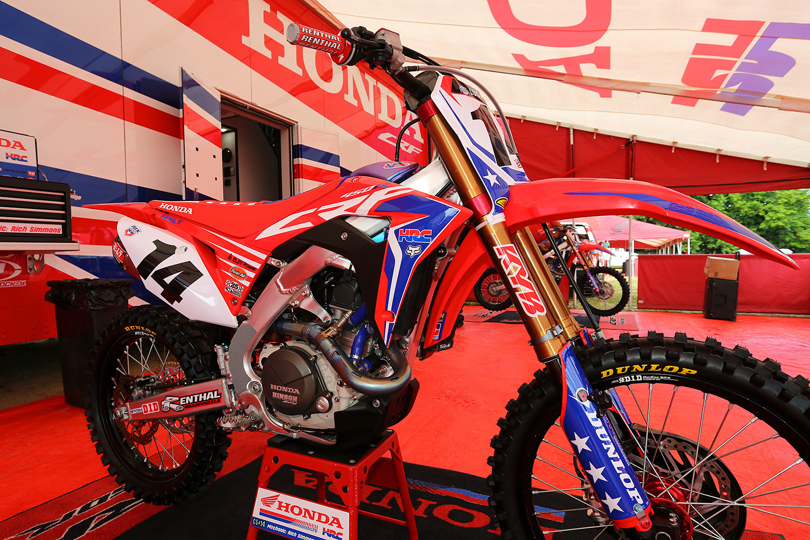 The Team Honda HRC bikes of Cole Seely, Christian Craig, and Toshiki Tomita got the stars and stripes treatment.