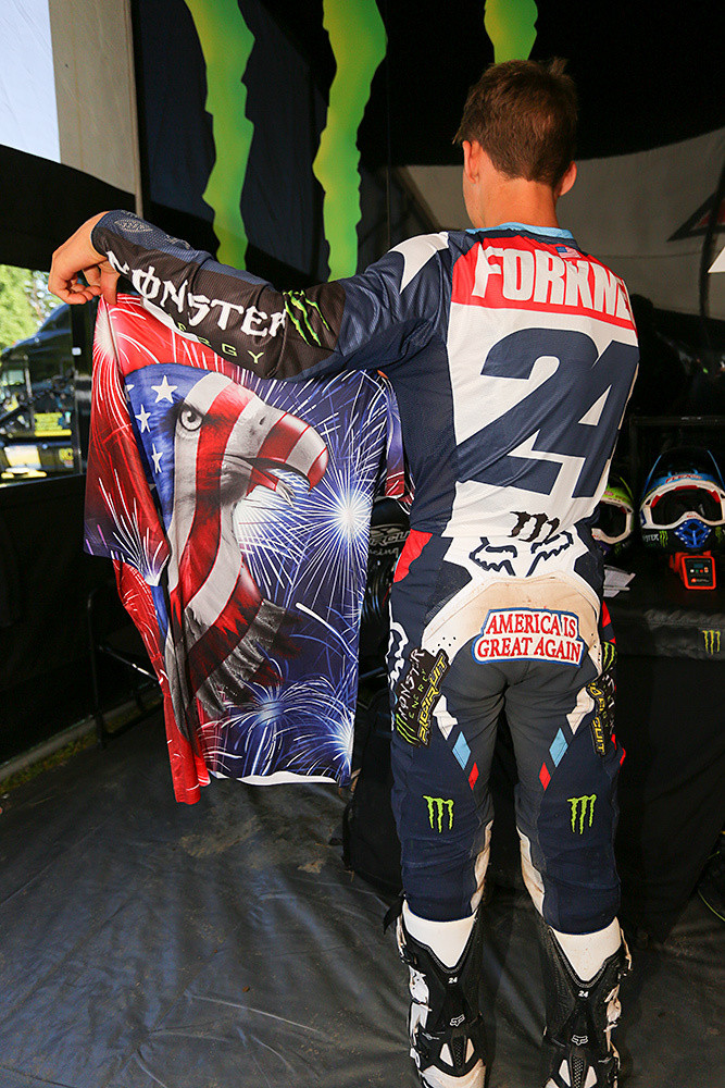 We dug Austin Forkner's butt patch...and the shirt is part of a red, white, and blue ensemble that he wore to the track.