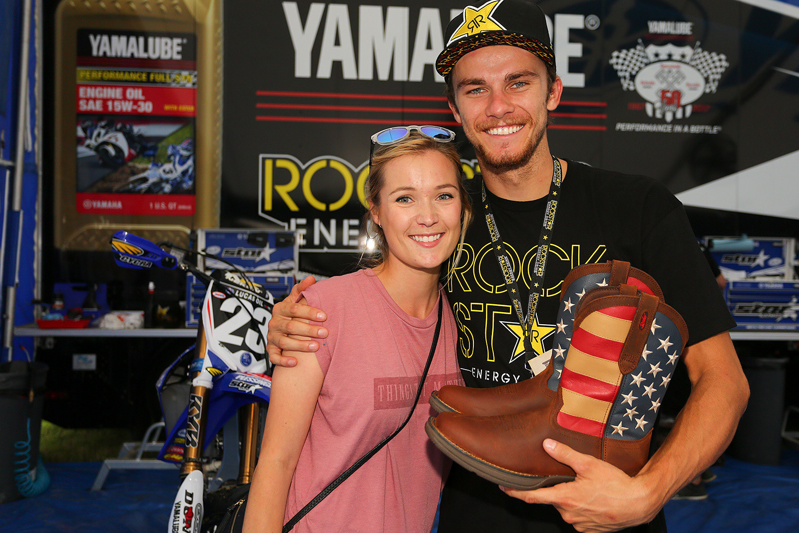 Aaron Plessinger saw the same set of boots on Jimmy Albertson earlier this season, and was in awe. Georgia and Jimmy hooked him up with a set, which she delivered at RedBud. Aaron was a happy guy.