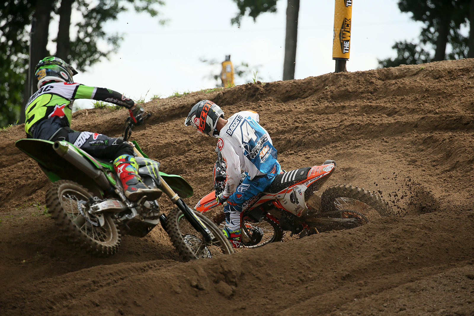 Blake Baggett (right), with Eli Tomac in hot pursuit.