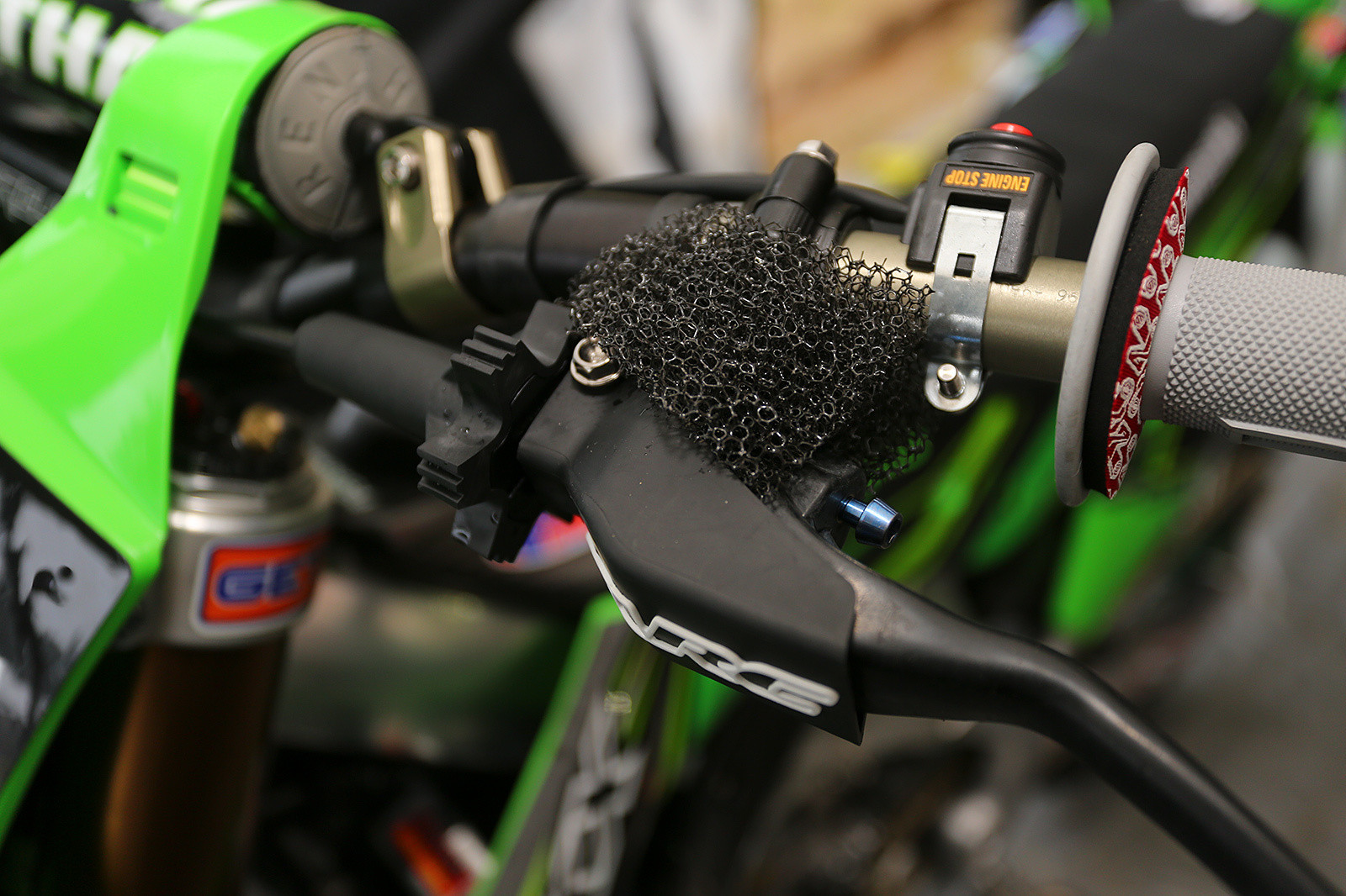 With his GP experience on sandy tracks like Lommel, Ollie Stone does all he can to keep sand out of things like the clutch lever mechanism.