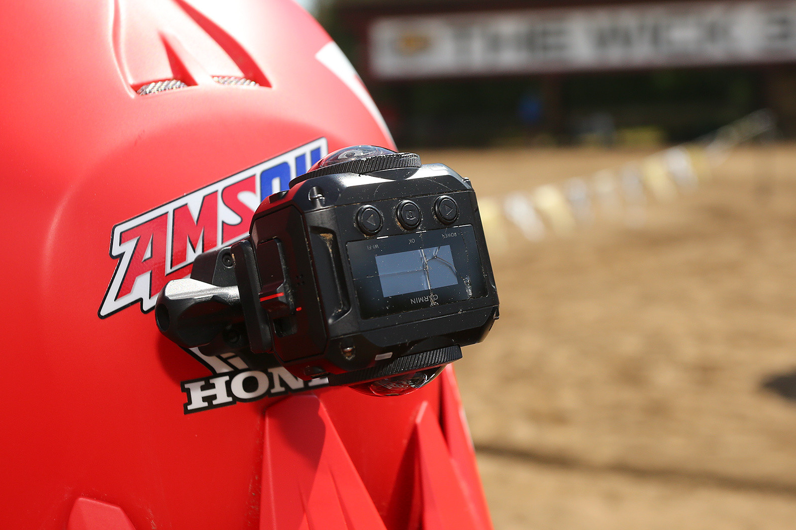 In the forum a few of you had asked what the Garmin 360 cameras looked like. They have front- and rear-facing lenses, and software stitches it all together. The cracked top screen? Because motocross.
