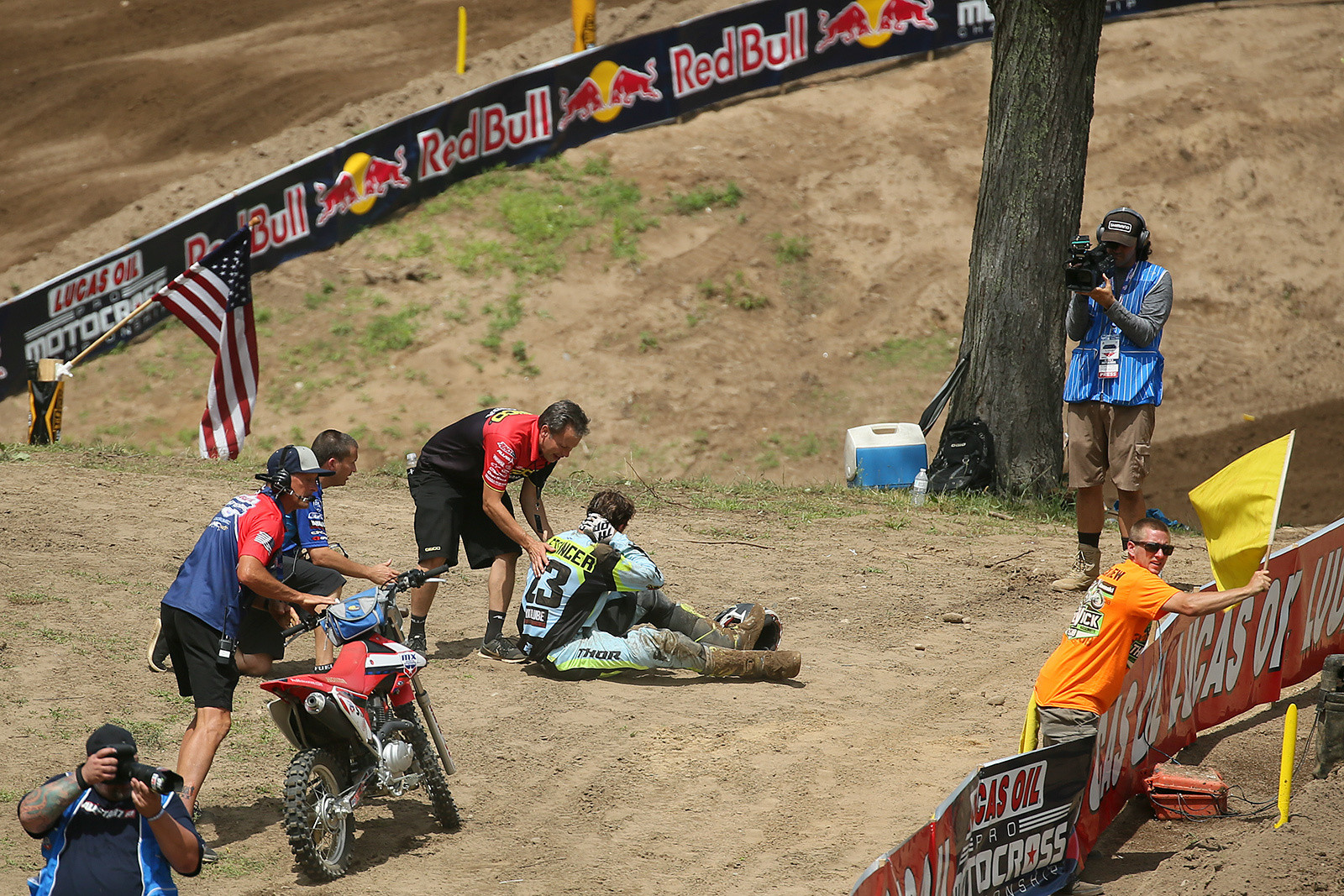 Here's another heartbreaker. Aaron Plessinger crashed out of the lead in 250 moto one, and he didn't return for moto two. An update after the race said that he didn't suffer any serious injury, but seeing a rider holding his neck, and leaving in a neck collar in scary indeed.