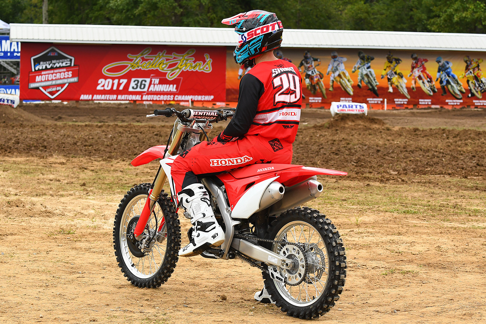 Team Honda hero Andrew Short gets ready to take a spin on the all-new 2018 Honda CRF250R at Loretta Lynn's.