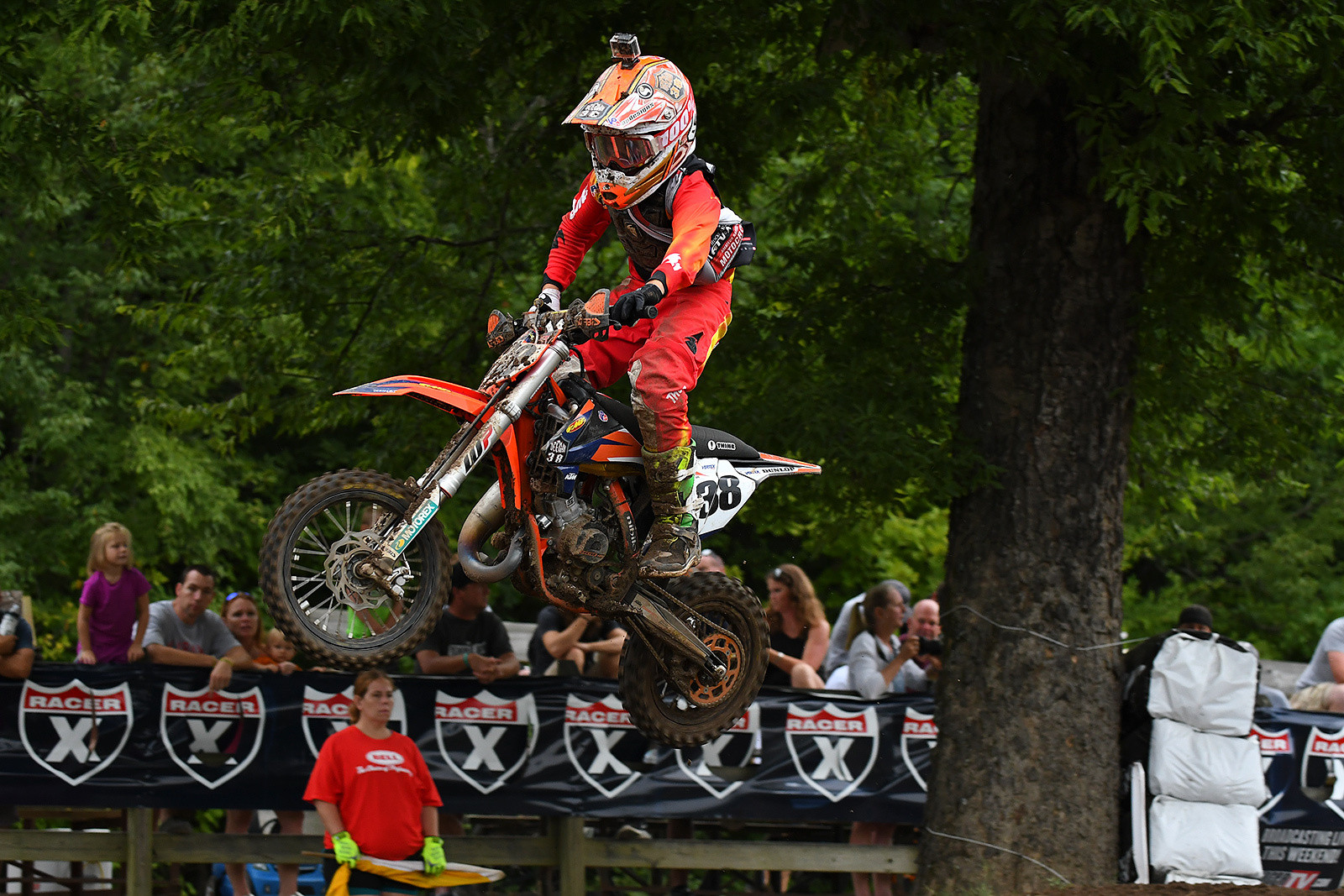 After an early crash Haiden Deegan settled for second in his first moto result of the week.