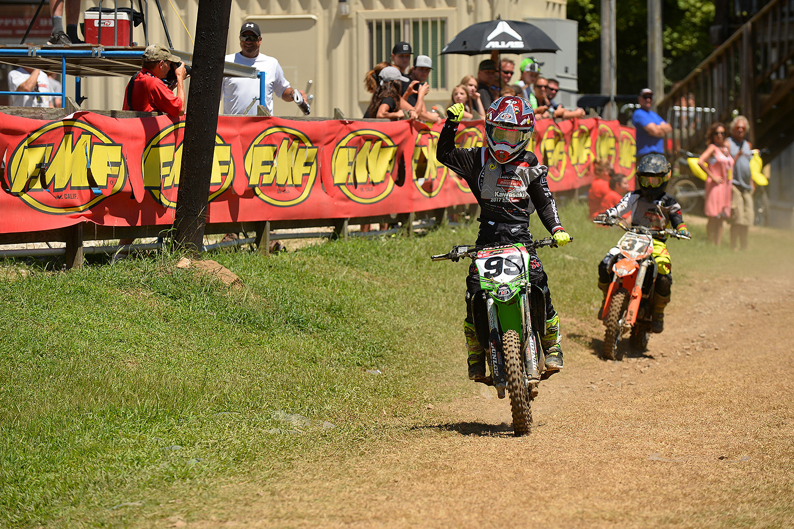 Ryder Difrancesco celebrates as he wins the 85 (9-11) Limited National Championship at the 36th Annual Rocky Mountain ATV/MC AMA Amateur National Motocross Championship at Loretta Lynn's.