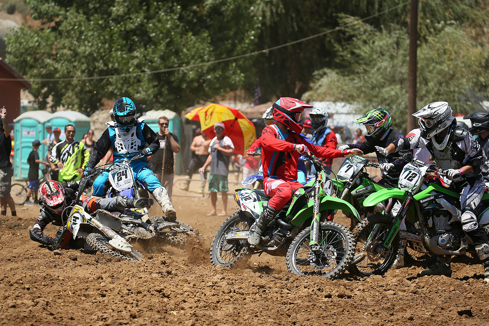 Each team in both the pro and industry classes has two riders, who trade off laps. There's always some chaos during the exchanges, though the format was modified later in the day so that riders didn't have to tag each other on the exchange. This was during the first industry moto.