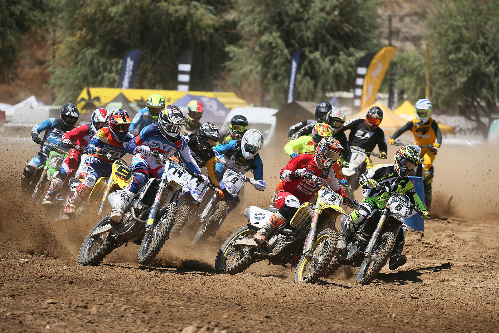 The start of the first pro moto had Mike Brown, Matt Bisceglia, and Sean Lipanovich out front.