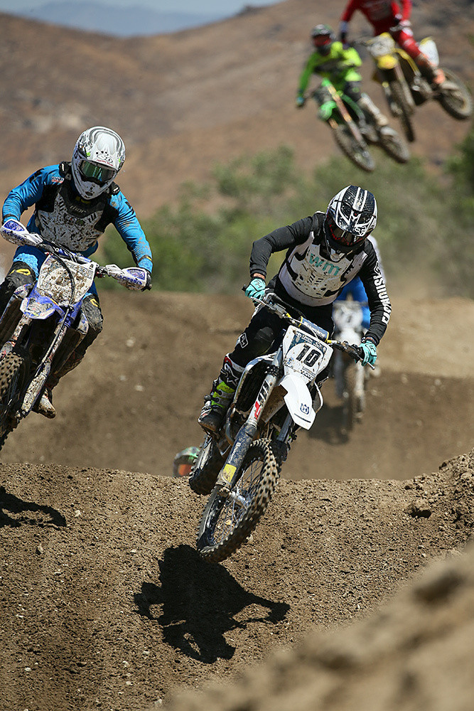 Nathan Fletcher (10) was paired up with Zac Commans, and they took the Pro moto win on day one. Here, he's alongside Destry Abbott.