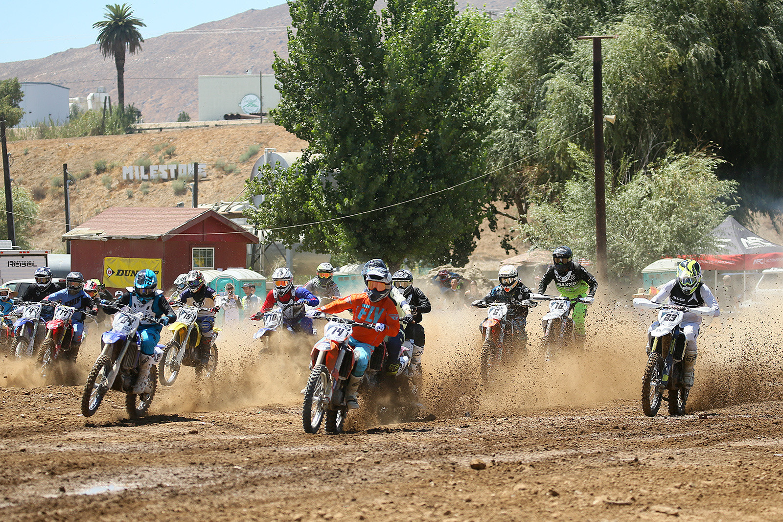 On the industry side, Jeff Northrop grabbed the holeshot in this moto, and was being chased by Jon-Erik Burleson (23), and Jimmy Lewis (24), among others.