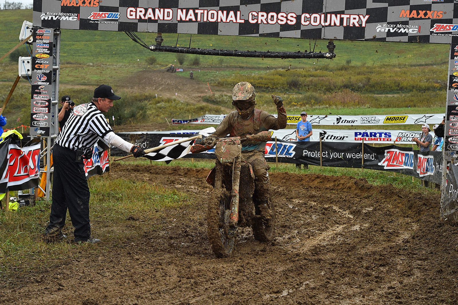 Make that five XC1 Pro championships for Kailub Russell, as he took the checkered flag here at the Powerline GNCC.