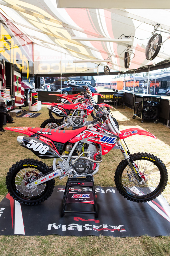 Due to some injuries, the GEICO Honda team won't have a CRF150R on the track this weekend. Carson Mumford was injured preparing for the race and the other 150 was built for a young rider who might be joining the Amsoil program.