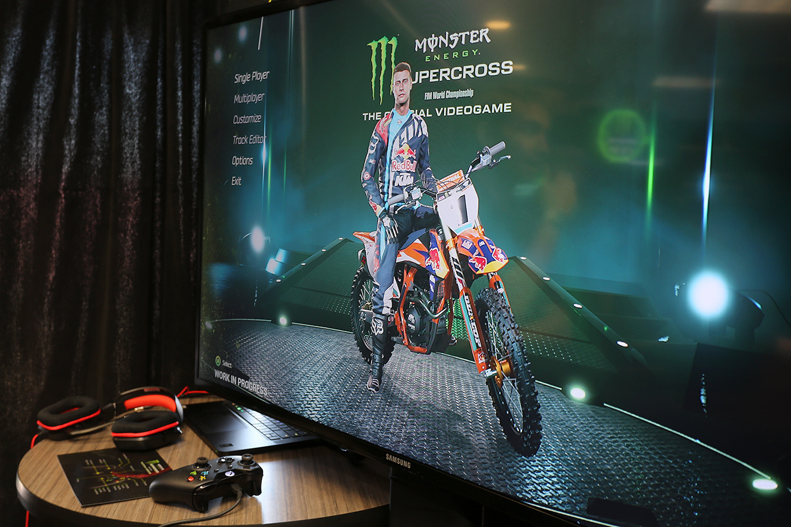 Monster Energy Supercross The Official Videogame was announced at the press conference on Friday. We got a quick chance to play the game (which is still in development), and it looks pretty cool. Look for a full roster of top name riders, including Dungey, Roczen, etc.