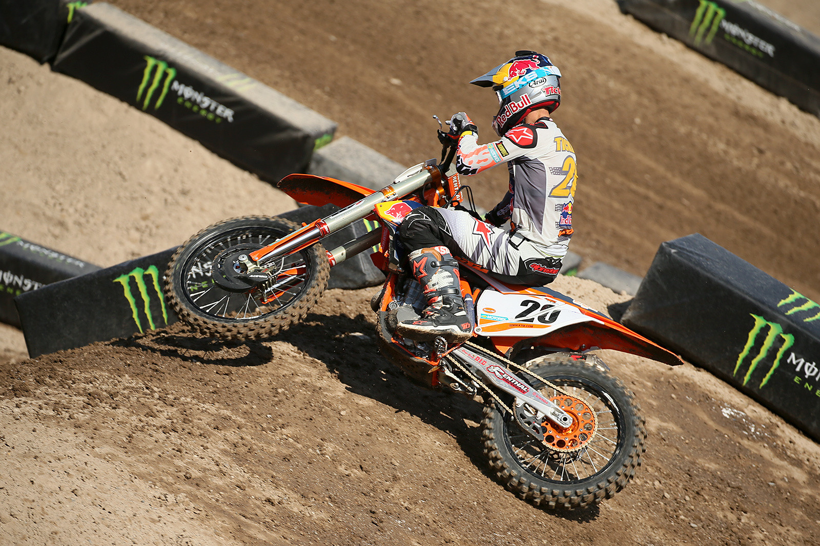 Deja vu from the last photo? Broc Tickle was showing off a lot of new here, with the Red Bull KTM, and a new deal with Alpinestars.