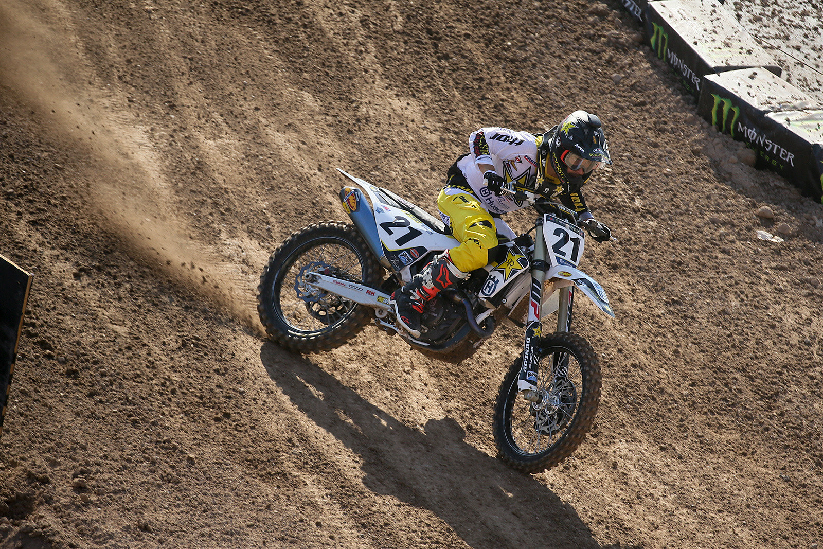 Jason Anderson was fourth-quickest here, and hard on the gas in this slippery sweeper section.