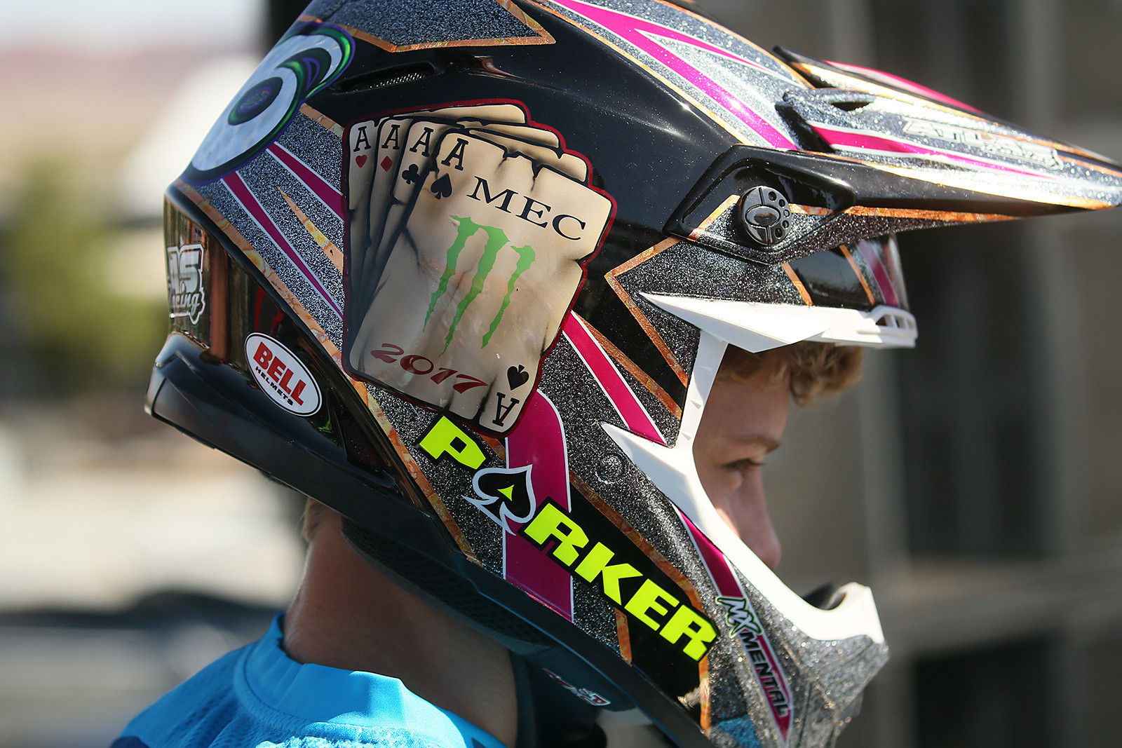 Parker Earl came to Vegas with an appropriately-themed helmet for the Supermini race.