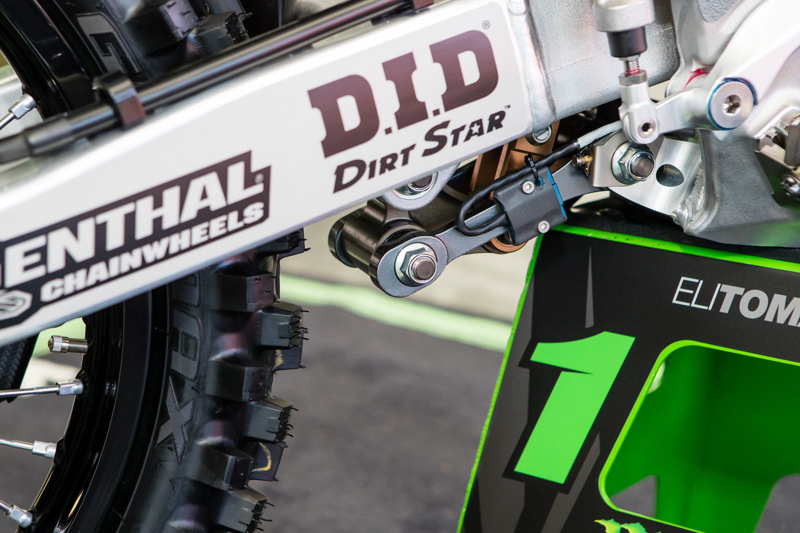 The Kawasaki team seems to have taken a note from the out-going RCH team on the placement of their rear shock travel sensor. This simple system is a lot more compact than a full travel rod along the side of the shock itself.