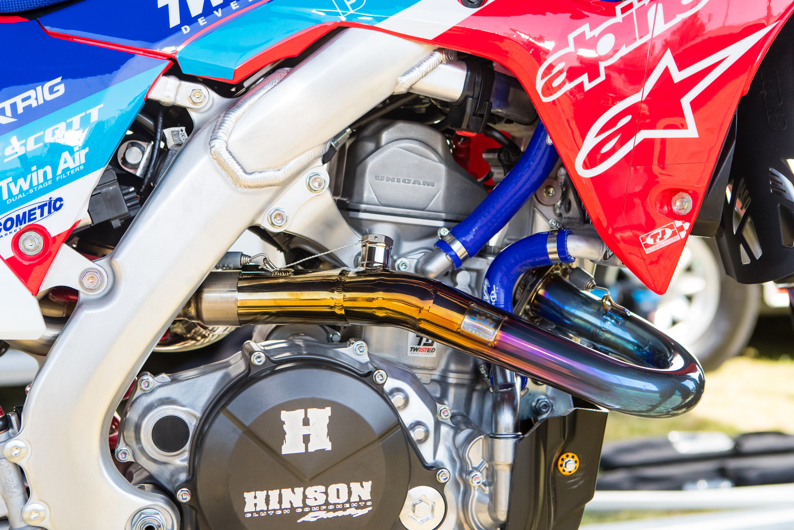 Yoshimura dialed him in, along with a few teams, with these polished titanium headpipes. Who wants one?