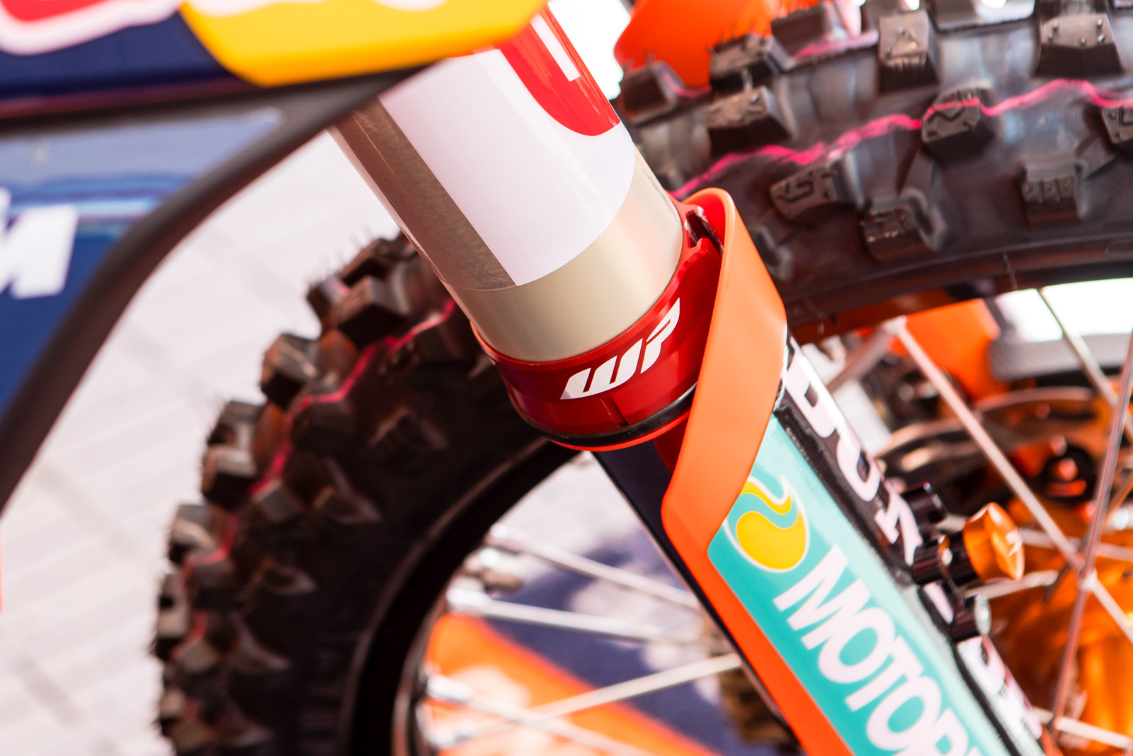 The Red Bull KTM team also integrated their holeshot hook into the WP seal casing on the fork tube.