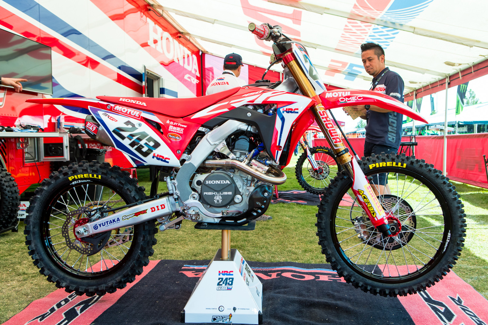 Tim Gajser's team went all out by shipping a complete GP bike for him to use, followed up by some Supercross suspension testing out at Honda's Corona test track before this weekend's event.