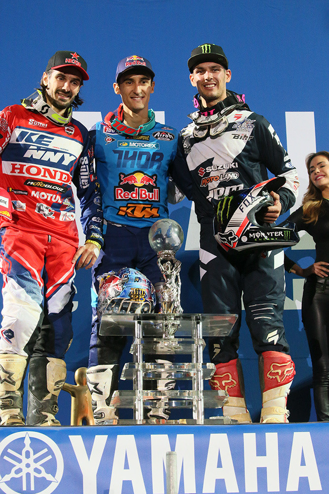 In the annual team competition, Team France took the win. Accepting the trophy, it was (left to right) Fabien Izoird, Marvin Musquin, and Cedric Soubeyras.