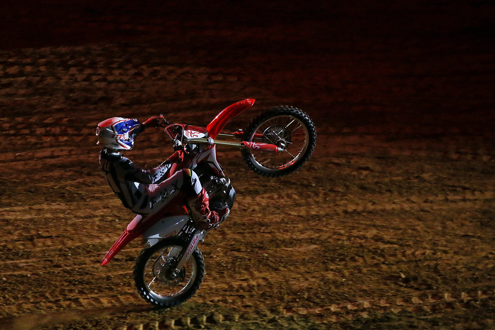 It was cool to see Jean-Michel Bayle still sporting his technical skills and wheelying down the start straight during opening ceremonies. He'd won the Paris Supercross (in the old Bercy Stadium) in '90 and '91, and was also Supercross champ in the U.S. in '91. This was the 35th Paris Supercross, and they've held something like 106 nights of racing. That sounds like it could be the most of any city in the world.