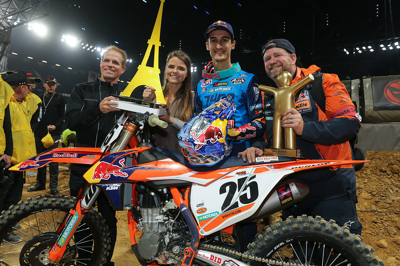 Team Musquin was pretty happy with his weekend's results. From left to right, it's Aldon Baker, Mathilde Musquin; and on the other side of Marvin it's his mechanic, Frankie Latham.