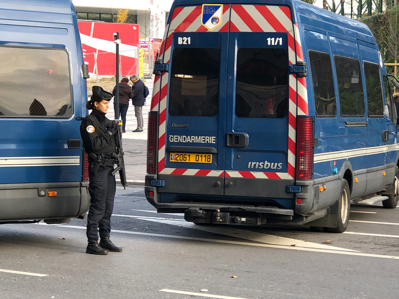 Given previous terror attacks in Paris and other parts of France, security was multi-layered and no joke. Vans like this were used in many areas as roadblocks, and security personnel were well-armed.